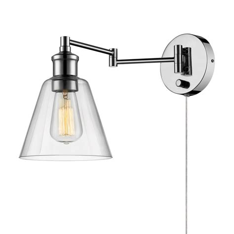 globe electric leclair 1 light chrome swing arm wall