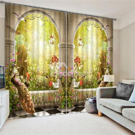 symmetrical peacock  magic garden printed bedroom