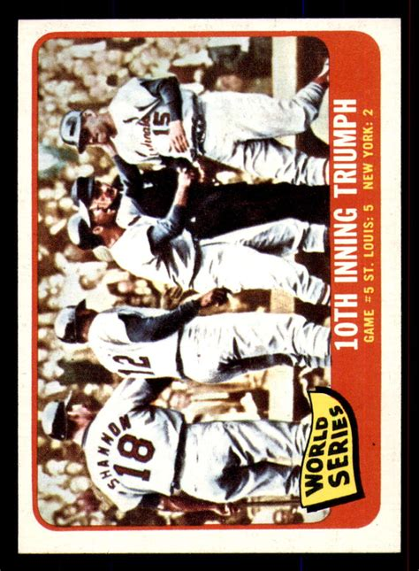 Most—but, certainly not all—of the cards produced 1986 and later aren't worth the paper they're printed on and lifelong collectors know that. 1965 Topps #136 World Series Game 5 10th Inning Triumph Near Mint ID:284496 | eBay