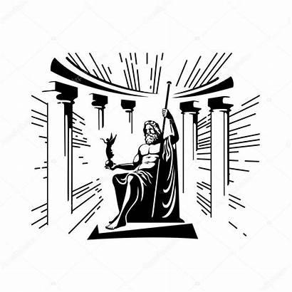 Throne God Illustration Vector Zeus Sitting Muz