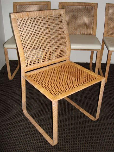 rare harvey probber woven rattan dining chairs  stdibs