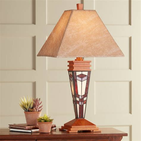 wood rustic lodge table lamps lamps