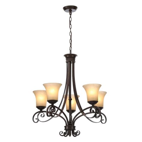 picture lighting home depot hton bay essex 5 light aged black chandelier with tea stained glass shades 14707 the home depot