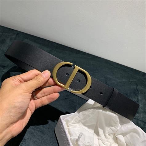 dior black leather  montaigne belt mm