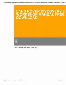 Land Rover Discovery 2 Workshop Manual Free