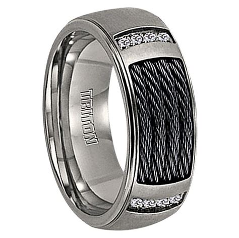 cwt unique mens wedding bands  diamond nitinol