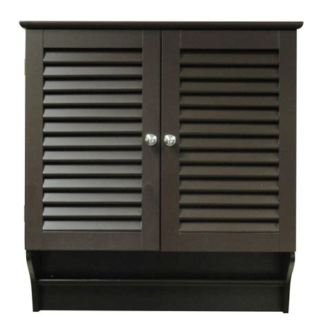 Espresso Wall Mounted Bathroom Cabinet With Shelves And