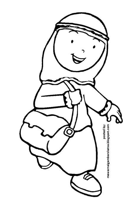 Mewarnai gambar sketsa kartun anak muslimah 45. Mewarnai Gambar: Mewarnai Gambar Sketsa Kartun Anak Muslimah 110