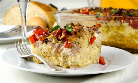 goat cheese strata with peppers onions