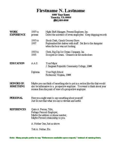 Basic Resume Word by Basic Resume Template Word Learnhowtoloseweight Net