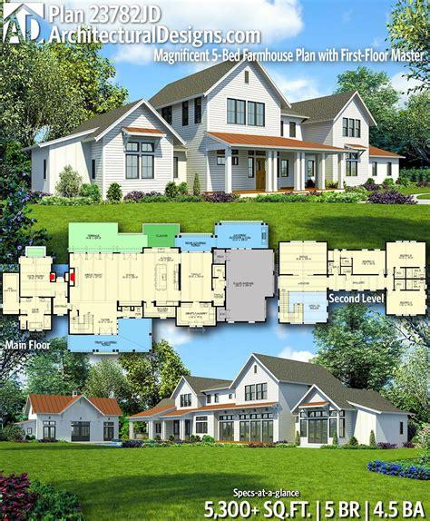 plan jd sprawling modern farmhouse plan   floor master farmhouse plans modern