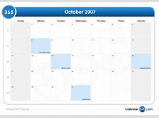 October 2007 Calendar