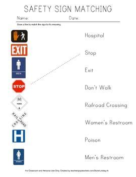 safety sign matching worksheet ideas for skills