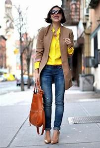 Tan blazer with yellow shirt Chic work styling ideas to wear http//www.justtrendygirls.com ...