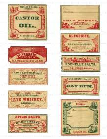 Digital Download Collage Sheet Antique 1800's Vintage Druggist Apothecary Pharmacy Drugstore General Store Labels Castor Oil Poison 9