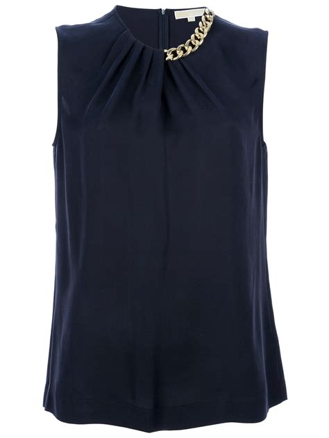 navy silk blouse michael kors chain detail silk blouse in blue navy lyst