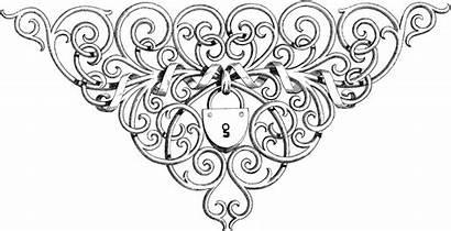 Ornate Lock Fancy Coloring Scrolls Heart Amazing