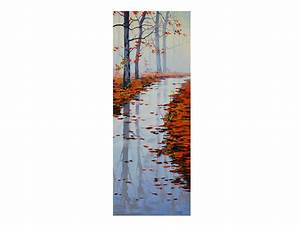 Large vertical autumn painting river fall impressionist