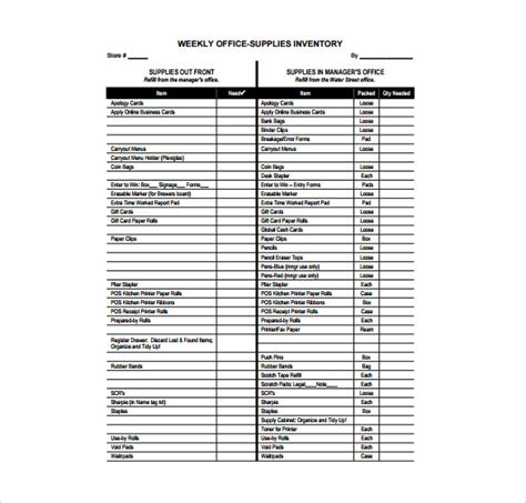 office supplies inventory template clergy