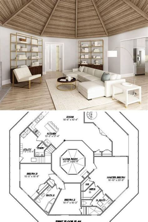bedroom  story octagon modern style home  full wrap  porch floor plan