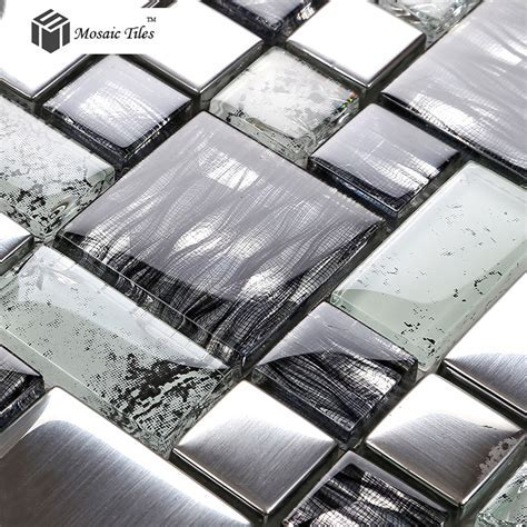 TST Crystal Glass Tile Glossy Mosaics Silver Inner Crackle