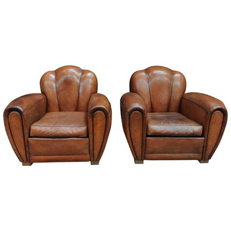 pair of deco large leather club chairs at 1stdibs