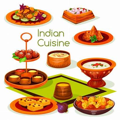 Indian Traditional Vector Cuisine Lunch Samosa Asian