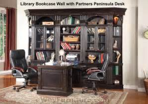 House Venezia Library Bookcase Wall with Partners Peninsula Desk
