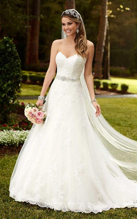 Strapless Sweetheart Lace Princess A Line Wedding Dress