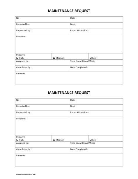 Maintenance Request Template - Costumepartyrun