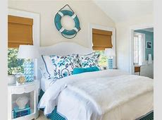 Blue and White Wave Table Lamps in an Ocean Theme Bedroom