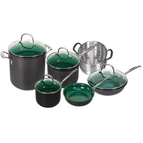 cookware kitchen pans stick non orgreenic pots piece anodized telebrands sets ceramic pan cooking bakeware coating