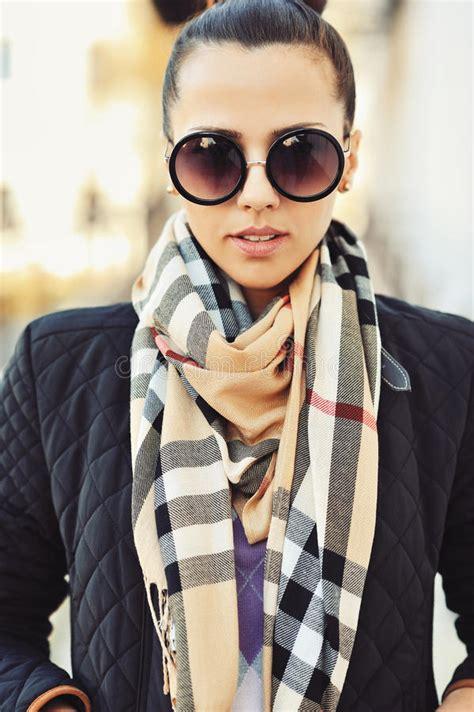 Portrait Of Seductive Hipster Girl Wearing Glasses Stock