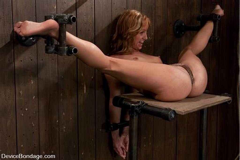 #Nude #Chick #Strapped #T #Wood #Wall #With #Legs #A