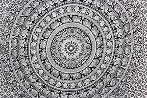Black and White Elephant Medallion Wall Tapestry Hippie