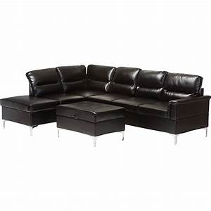 Kinsley 3 piece large sectional sofa with ottoman faux for Large 3 piece sectional sofa