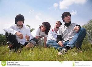 Group Of Friends Sit On Grass Royalty Free Stock Photo ...