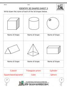 3-Dimensional Shapes Worksheets