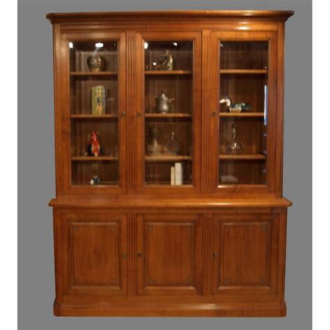 bureau d angles bibliothèque 3 portes louis xvi merisier meubles de