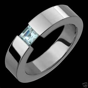 details about new 5mm mens titanium ring aquamarine With mens aquamarine wedding ring