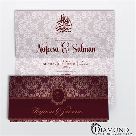 red  burgundy royal muslim wedding card diamond wedding cards