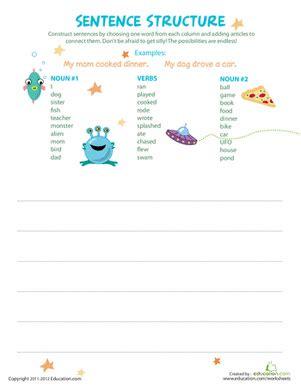 simple sentence structure worksheet education com