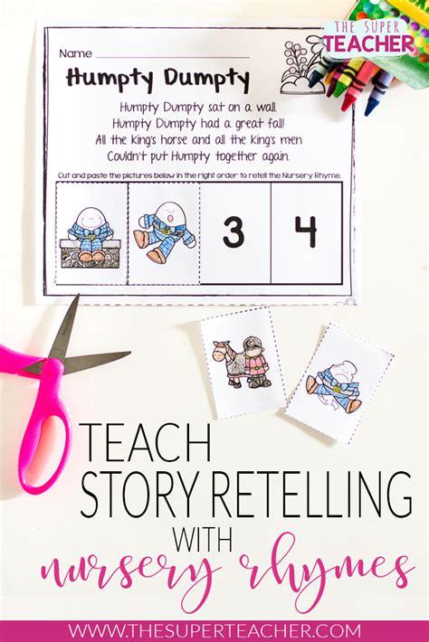 nursery rhymes worksheets  story retelling practice