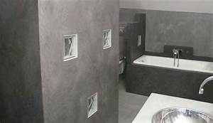 stunning salle de bain tadelakt gris photos amazing With repeindre un mur crepi interieur