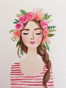 Flower Crown watercolor girl | Blumenmädchen Aquarell ...