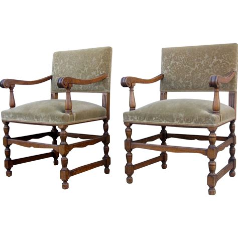 pair of louis xiv style arm chairs from blacktulip on ruby