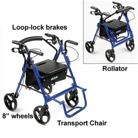 300 Lb Capacity Rollator Transport Chair Combo by Drive Duet Rollator Transport Chair Rolling Walker 795bu