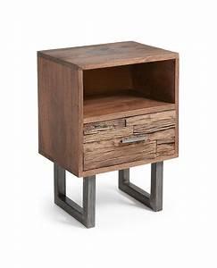 Table En Manguier : table de chevet 1 niche 1 tiroir en bois de manguier aubier ~ Teatrodelosmanantiales.com Idées de Décoration
