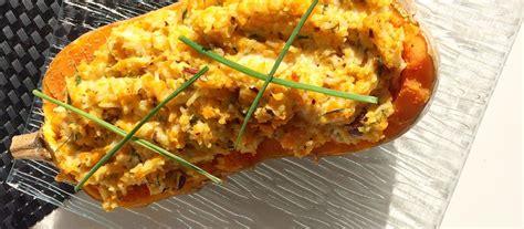 butternut farcie au riz au cumin chevre frais noisettes