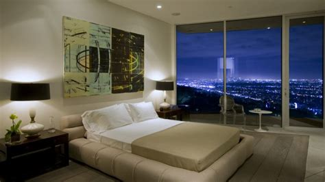Cool dining room, beautiful bedroom with city view night